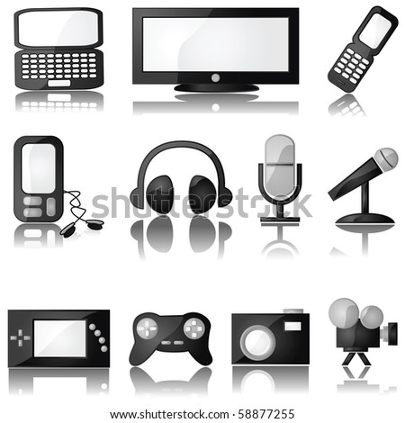 Jpeg set of glossy multimedia icons with reflection