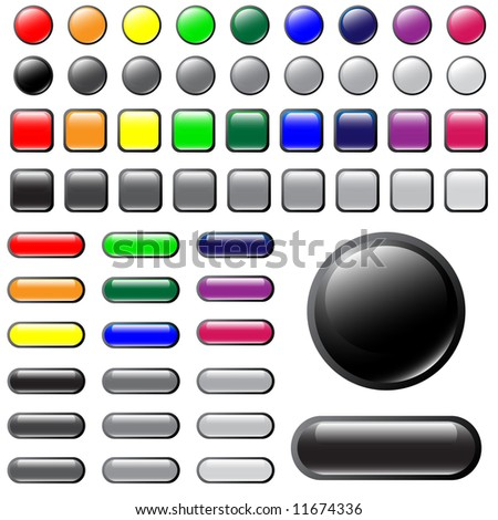 Jpeg shiny button elements in different colors for website design.