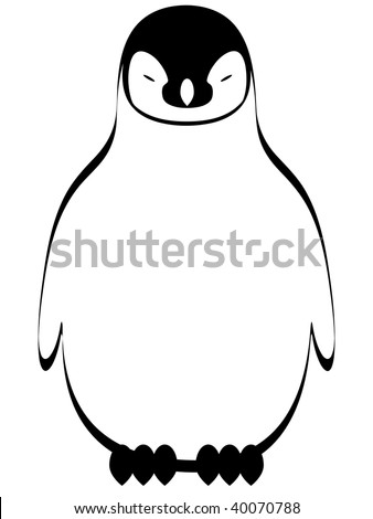 jpeg stylized illustration of cute cartoon penguin. - stock photo
