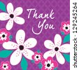 JPEG Thank You Card with white and pink flowers on vintage purple background pattern. See my folio for other colors and for vector versions. - stock vector