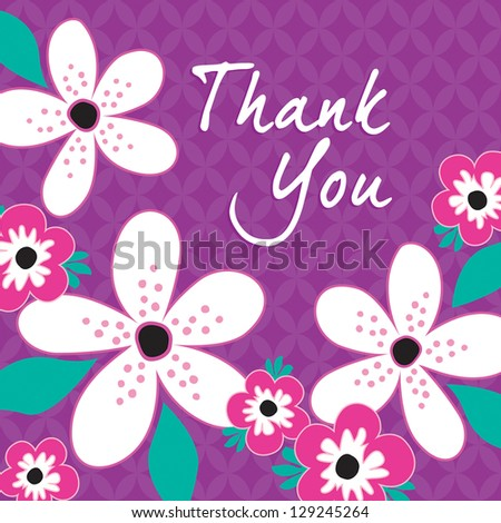 JPEG Thank You Card with white and pink flowers on vintage purple background pattern. See my folio for other colors and for vector versions. - stock photo