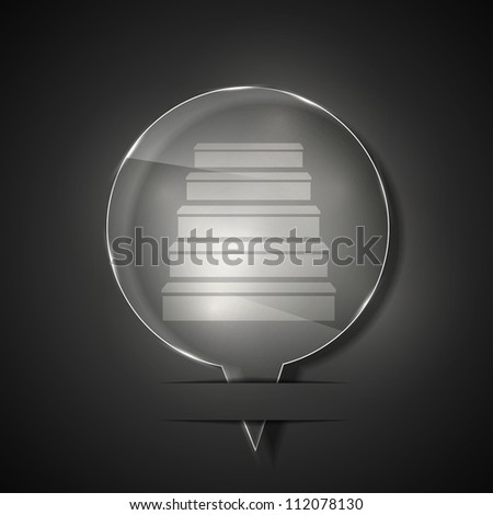 Jpeg version. glass ladder icon on gray background - stock photo