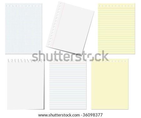 JPEG version. Isolated pages of notebook on the white - stock photo