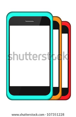 Jpeg version. smartphone in a cover set isolated on white - stock photo