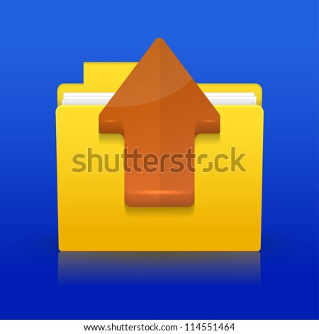 Jpeg version. upload icon on blue background - stock photo