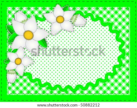 Jpg.  Border with oval copy space, flowers, gingham and dots in green, white containing quilting stitches. - stock photo