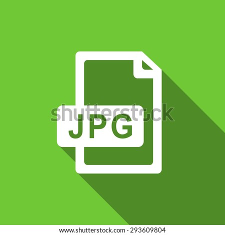 jpg file flat icon  original modern design green flat icon for web and mobile app with long shadow  - stock photo