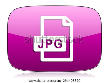 jpg file violet icon  original modern design for web and mobile app on white background with reflection  - stock photo