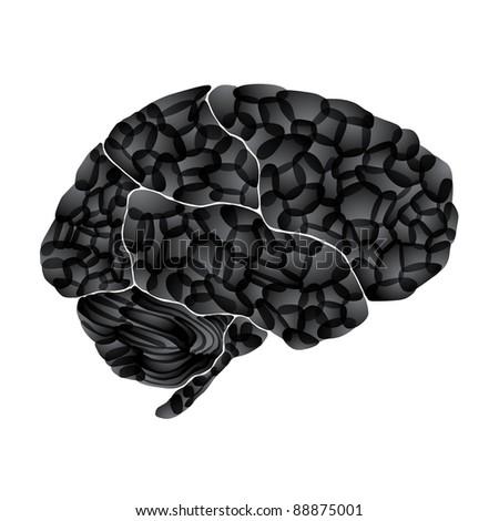 jpg, human brain, dark thoughts, abstract background - stock photo