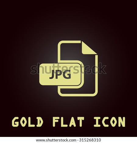 JPG image file extension. Gold flat icon. Symbol for web and mobile applications for use as logo, pictogram, infographic element - stock photo