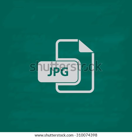 JPG image file extension.  Icon. Imitation draw with white chalk on green chalkboard. Flat Pictogram and School board background. Illustration symbol - stock photo