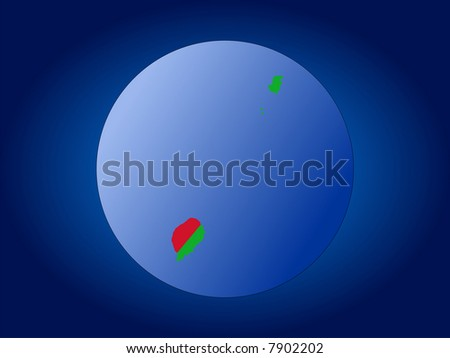 JPG map and flag of Sao Tome globe illustration