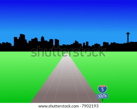 JPG Seattle skyline with deserted freeway illustration