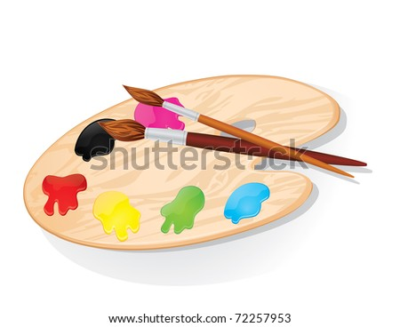 JPG Wooden palette with paints and brushes - stock photo