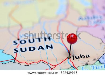 Juba Pinned On Map South Sudan Stock Photo 439455769 Shutterstock