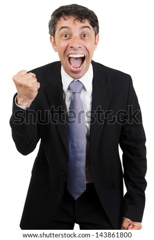 Jubilant business man cheering with his mouth open, an excited expression and making a fist with his hand , isolated on white - stock photo
