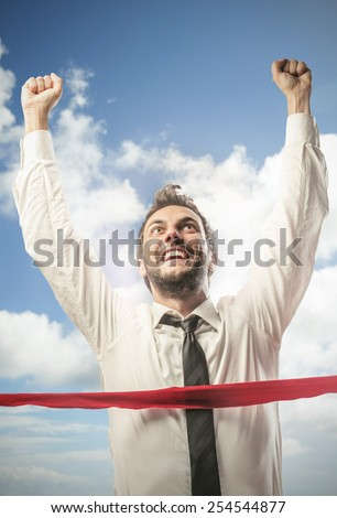Jubilant businessman