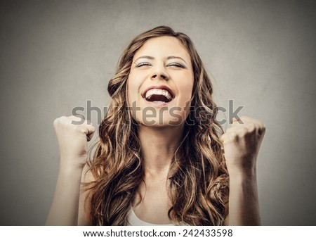 Jubilating girl - stock photo