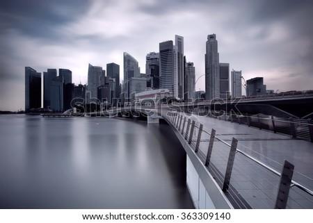 Jubilee Bridge Singapore - stock photo