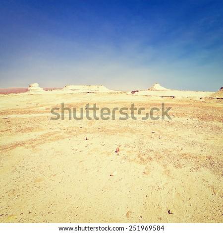 Judean Desert on the West Bank of the Jordan River, Instagram Effect - stock photo