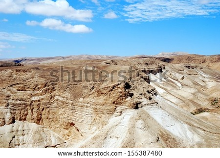 Judean Desert view on the way to Masada. Israel - stock photo