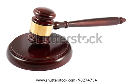 Judge brown gavel isolated on white background
