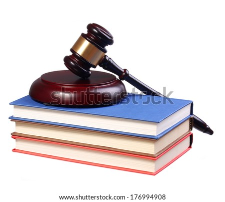 Judge Gavel and Books isolated on white background. Law Concept - stock photo