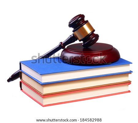 Judge Gavel and Books isolated on white background. Law Concept