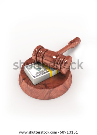 Judge gavel and money.