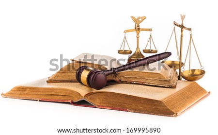 judge gavel and old law books - stock photo