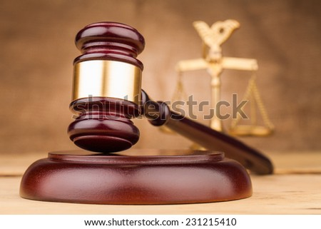judge gavel and scales closeup - stock photo