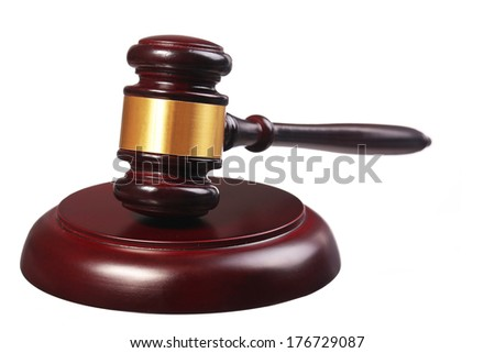 Judge gavel and soundboard isolated on white background