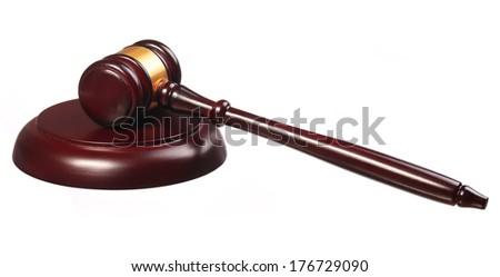 Judge gavel and soundboard isolated on white background - stock photo