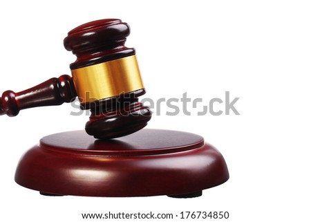Judge gavel and soundboard isolated on white background. Closeup