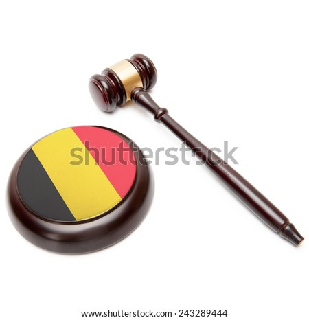 Judge gavel and soundboard with national flag on it - Belgium - stock photo