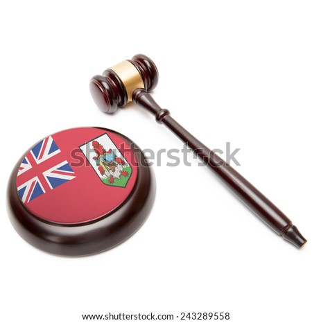 Judge gavel and soundboard with national flag on it - Bermuda - stock photo