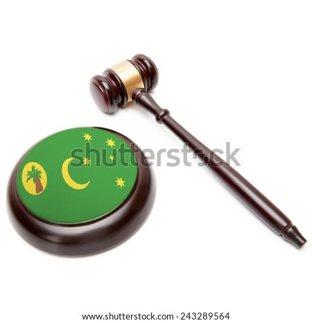 Judge gavel and soundboard with national flag on it - Cocos (Keeling) Islands - stock photo