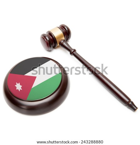 Judge gavel and soundboard with national flag on it - Jordan - stock photo
