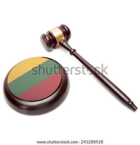 Judge gavel and soundboard with national flag on it - Lithuania - stock photo