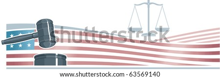 Judge Gavel (Hammer) n American Flag Background - stock photo