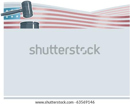Judge Gavel (Hammer) on American Flag Background - stock photo