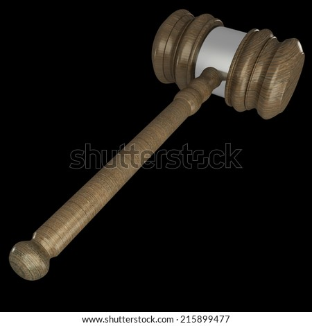 Judge gavel. isolated on black background 3d illustration. high resolution
