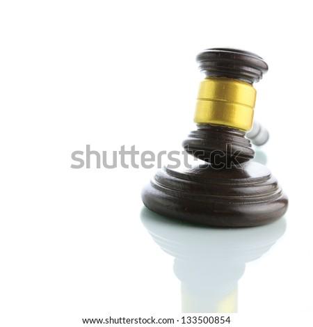 Judge gavel isolated on white background - stock photo