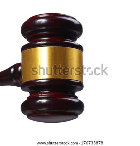 Judge gavel isolated on white background. Closeup - stock photo