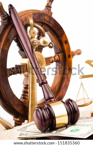 judge gavel money and marine law - stock photo