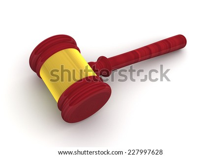 Judge Gavel side view isolated on white background - stock photo