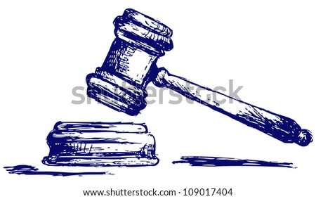 Judge gavel sketch. Raster - stock photo