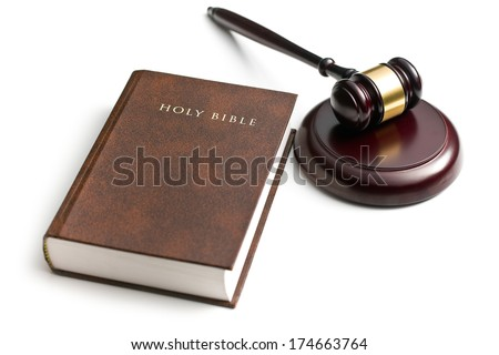 judge gavel with holy bible on white background - stock photo