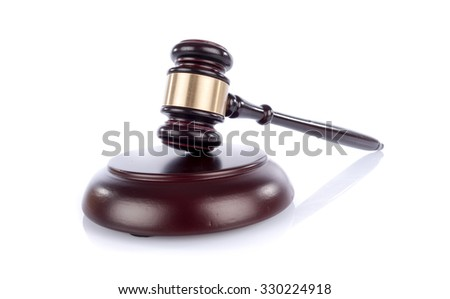 Judge hammer, isolated on white - stock photo