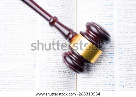 judge hammer lay on book